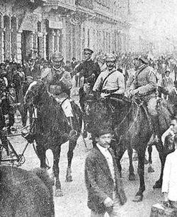 Fotografía tomada durante la Semana Trágica de 1919