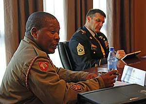 Sergeant Major of the Army (South Africa) - Image: Senior Chief Warrant officer Ncedakele Mtshatsheni 170511 A HL390 0382