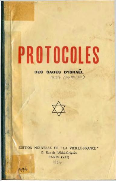 Serge Nilus - Protocoles des Sages d Israel - Urbain Gohier, Vieille France, Paris, 1924
