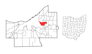 Location of Shaker Heights in Cuyahoga County, Ohio