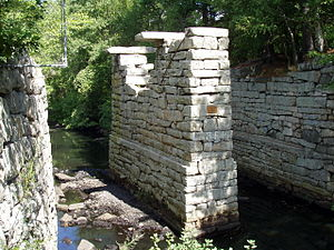 Middlesex Canal - Remnants of the aqueduct that carried the canal over the Shawsheen River on the Billerica-Wilmington town line