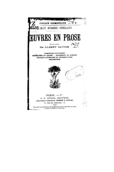 File:Shelley - Œuvres en prose, 1903, trad. Savine.djvu