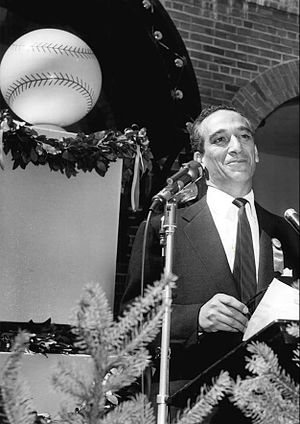 Shirley Povich - Povich as master of ceremonies at Cooperstown, 1955.