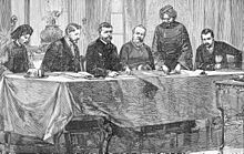 Drawing of men signing a treaty