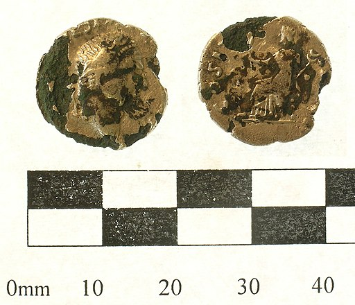Silver plated copper alloy Roman coin; a contemporary copy of a denarius of Vespasian (FindID 238426)