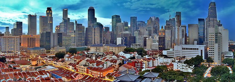 File:Singapore skyline viewed from Chinatown at sunset (8458095845).jpg