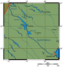 Kort over Skellefte älv
