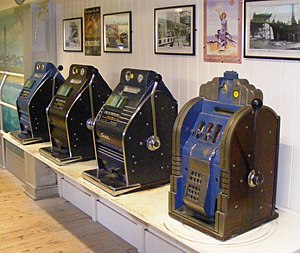 English: Slot machines at Wookey Hole Caves