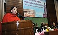 Smriti Irani addressing at the felicitation programme for the noted Tamil Scholars and Thirukural recitation winners from Tamil Nadu, at Parliament House, in New Delhi on December 17, 2015.jpg