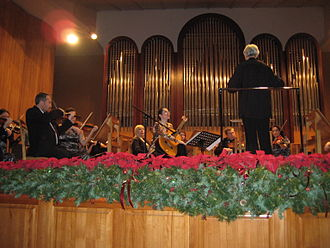 Sochi - The Sochi Symphony Orchestra conducted by Oleg Soldatov during a concert with the Austrian guitarist Johanna Beisteiner at Organ and Chamber Music Hall in Sochi (13 December 2013)