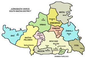 South Bačka District - Map of South Bačka District