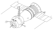 Salyut 1-type Soyuz 7K-T/A9 for 3 cosmonauts without space suits. This was the Original Soyuz 7K-OK upgraded for the military Almaz space stations. The probe and drogue docking system (left) permitted internal transfer of cosmonauts from the Soyuz to the station.