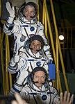 Soyuz MS-06 crew waves farewell in Baikonur.jpg