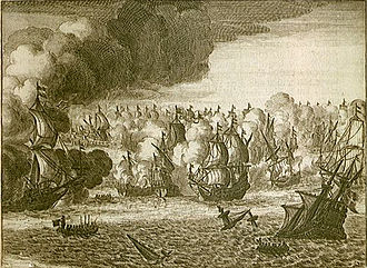 St. James's Day Battle - Engraving showing the St. James Day battle August 4th, 1666 between English and Dutch Ships