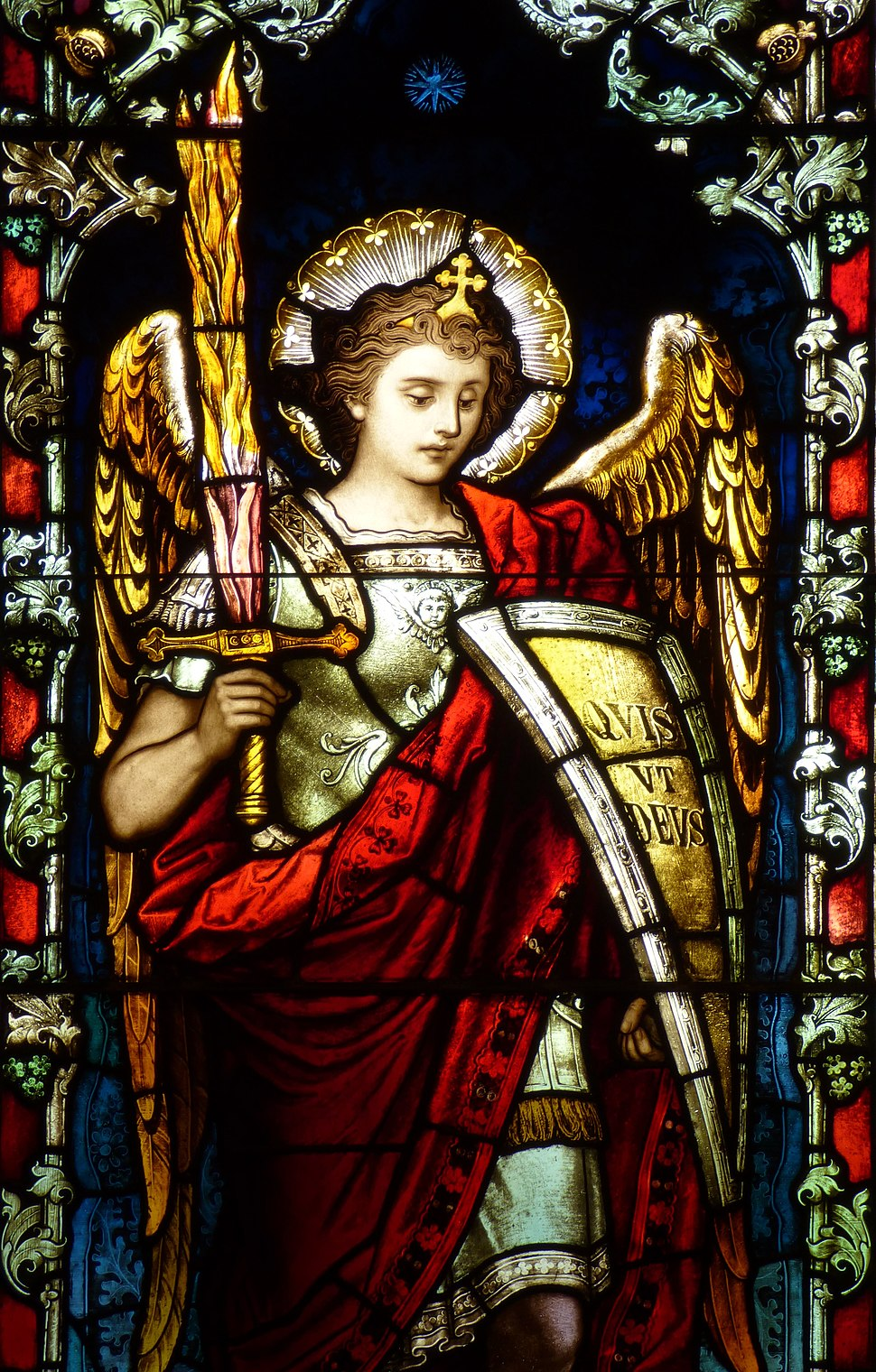 St. Stephen the Martyr (Omaha), chapel window 2, Archangel Michael, detail