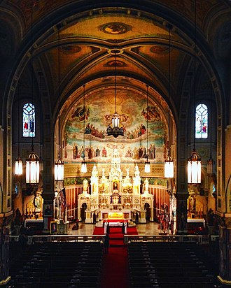 Polish Cathedral style - The Altar, Side Altars, and Nave of St. Casimir Church in Cleveland, Ohio on March 13, 2016 following Cleveland Mass Mob XX