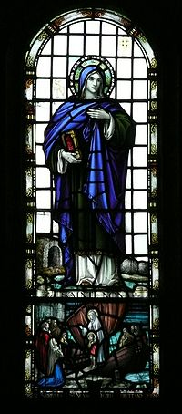 St Non stained glass window in St Nons Chapel.jpg