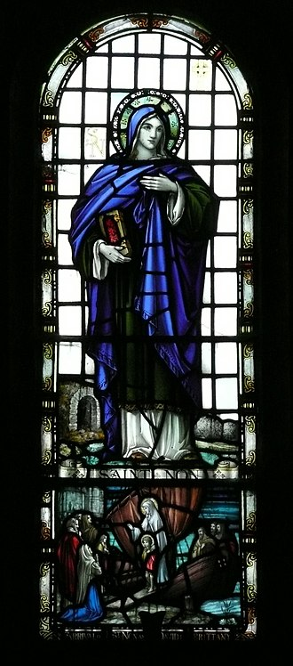 Saint Non - St Non portrayed in stained glass in St Non's Chapel