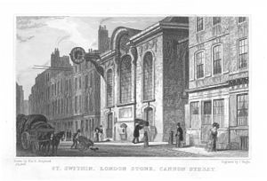 London Stone - Wren's rebuilt St Swithin's church in 1831, with the casing of London Stone prominent in the middle of the front wall