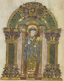 St Swithun, Benedictional of Æthelwold, London, BL, Ms Add. 19598, Fol 90V.jpg