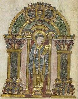 St Swithun, Benedictional of Æthelwold, London, BL, Ms Add. 19598, Fol 90V.jpg