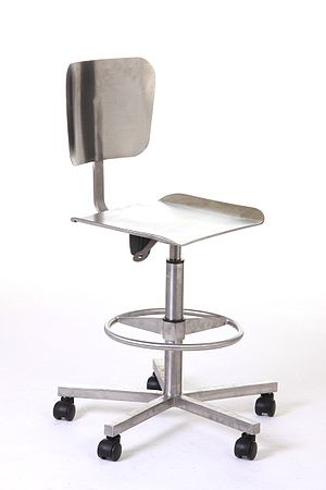 Stainless steel chair with pneumatic seat and ...