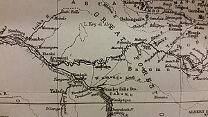Aruwimi River - Stanley's routes are indicated by the solid and dashed black lines.