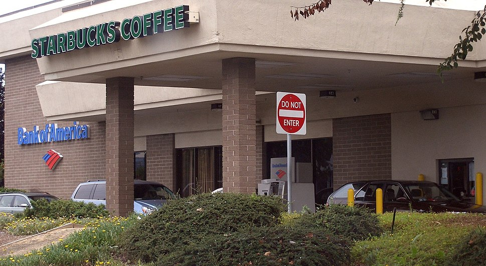 Starbucks and Bank of America Drive Through