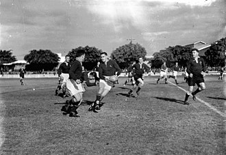 1937 South Africa rugby union tour to New Zealand and Australia - The 1937 Springbok backline in action against Australia.