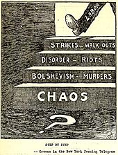 "A political cartoon showing a person walking down steps from ""strikes"" to ""chaos"""
