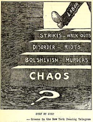 Smith Act trials of Communist Party leaders - This 1919 political cartoon reflects American fears about Bolshevism and anarchism during the First Red Scare.