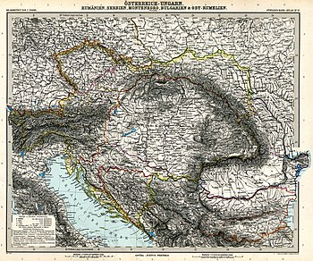 Austro-Hungarian Empire between 1878 and 1914 at its greatest exent (Stielers Handatlas)