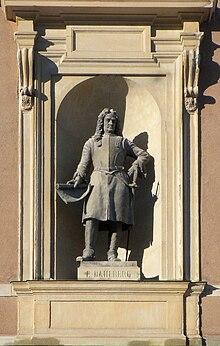 Erik Dahlbergh som statue på Stockholms Slott afhøvlet mod Slotskassen