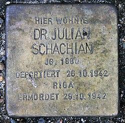 Photo of Julian Schachian brass plaque