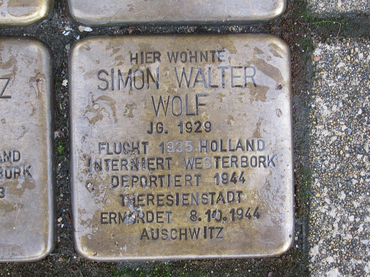 Stolperstein Simon Walter Wolf, 1, Werner-Senger-Straße 19, Limburg an der Lahn, Landkreis Limburg-Weilburg.jpg