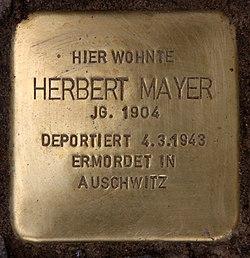 Photo of Herbert Mayer brass plaque