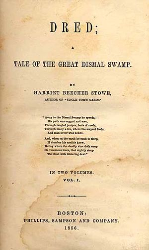 Dred: A Tale of the Great Dismal Swamp - Title page of the first edition
