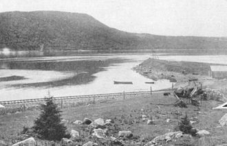 Canso Causeway - Proposed location for cantilever bridge across the Strait of Canso - generally the same as that ultimately selected for the causeway.