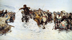 Maslenitsa - Vasily Surikov. Taking a Snow Town, 1891.