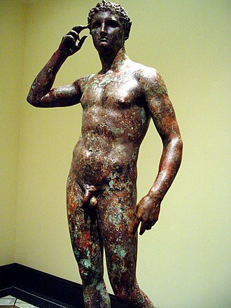 Ancient Greek sculpture - The Victorious Youth (c. 310 BC), a remarkably weather-preserved bronze statue of a Greek athlete in Contrapposto pose