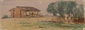 Amanda Austin - Ruins of Sutter's Fort, c. 1880, watercolor, in the Bancroft Library, Berkeley, California