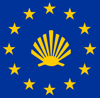 Lesser Polish Way - The symbol of the way surrounded by EU flag stars