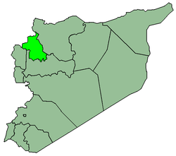 Map of Syria with Idlib highlighted.