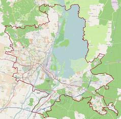 """Mapa konturowa Szczecina, po lewej znajduje się punkt z opisem """"Uniwersytet Szczeciński"""""""