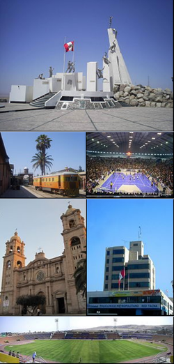 Top: Monument at Battle of Tacna in Intiorko Hills, 2nd left: Ferroviaria Railroad Station, 2nd right: Cerrado Peru Arena (Coliseo Cerrado Peru), 3rd left: Tacna Cathedral, 3rd right: Tacna Municipal Hall, Bottom: Jorge Basadre Stadium (Estadio Jorge Basadre)