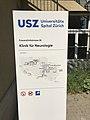 Tafel USZ Klinik für Neurologie Eingang Spöndlistrasse Zürich.jpg