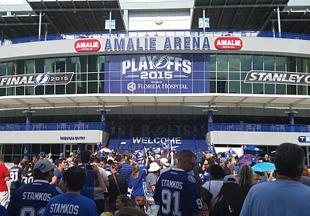 A viewing party outside Amalie Arena for Game 6 of the 2015 Stanley Cup Finals. Tampa Bay Lightning Game 6 Watch Party (18219067034) (cropped).jpg