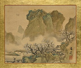 A Country House in a Valley with a Blossoming Plum Tree