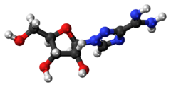 Ball-and-stick model of the taribavirin molecule