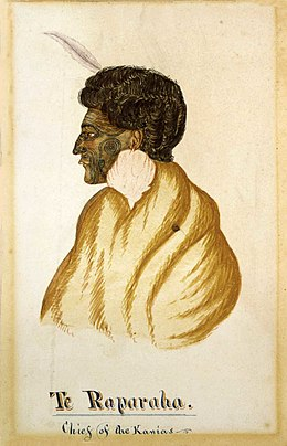Te Raparaha, chief of the Kawias, watercolour by R. Hall, c. 1840s.jpg